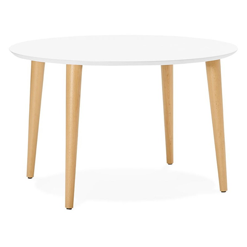 Round dining table Scandinavian to extensions (Ø 120 cm) OLIVIA (120-220 x 120 x 75 cm) wooden (matte white) - image 39607
