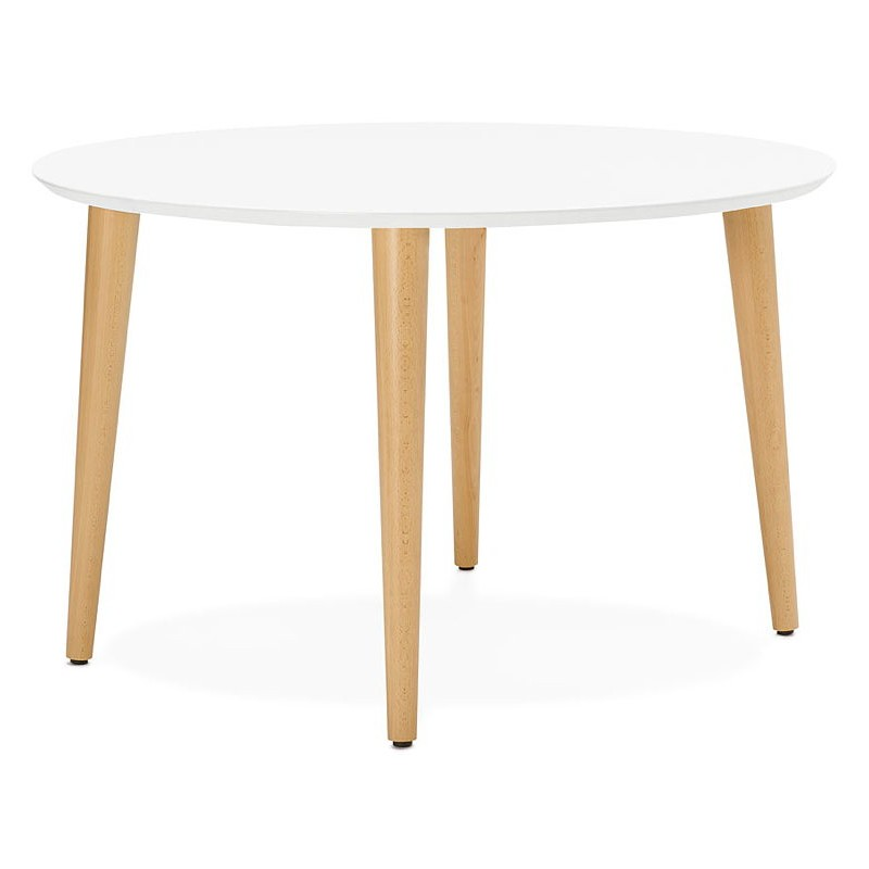 Round dining table Scandinavian to extensions (Ø 120 cm) OLIVIA (120-220 x 120 x 75 cm) wooden (matte white) - image 39609