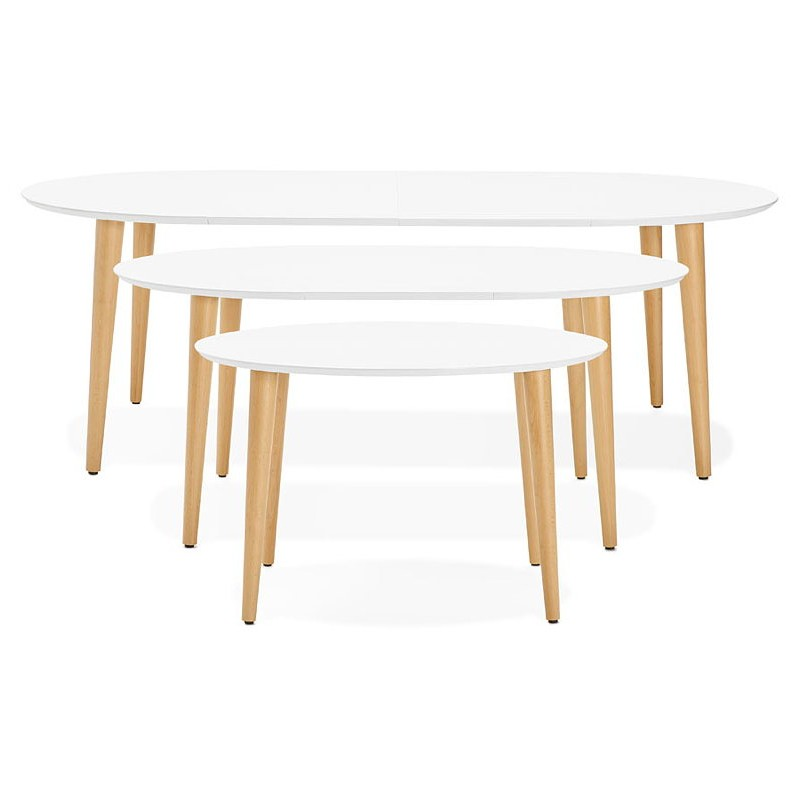 Round dining table Scandinavian to extensions (Ø 120 cm) OLIVIA (120-220 x 120 x 75 cm) wooden (matte white) - image 39611