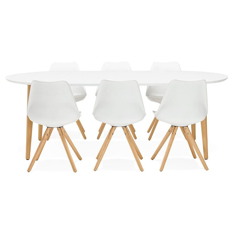Round dining table Scandinavian to extensions (Ø 120 cm) OLIVIA (120-220 x 120 x 75 cm) wooden (matte white) - image 39621