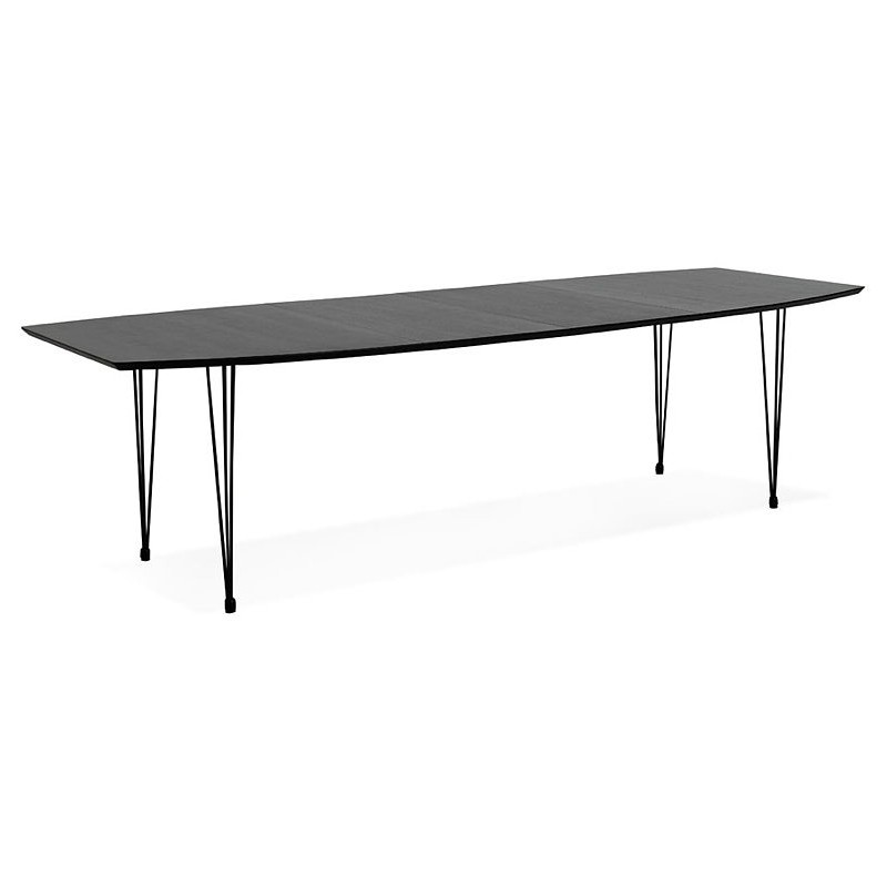 Dining table design with extensions LOANA in wood and metal (100 x 170-270 x 73 cm) (black) - image 39628