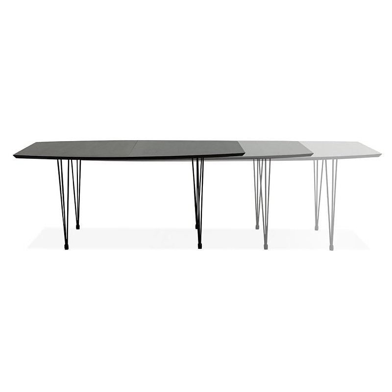 Dining table design with extensions LOANA in wood and metal (100 x 170-270 x 73 cm) (black) - image 39637