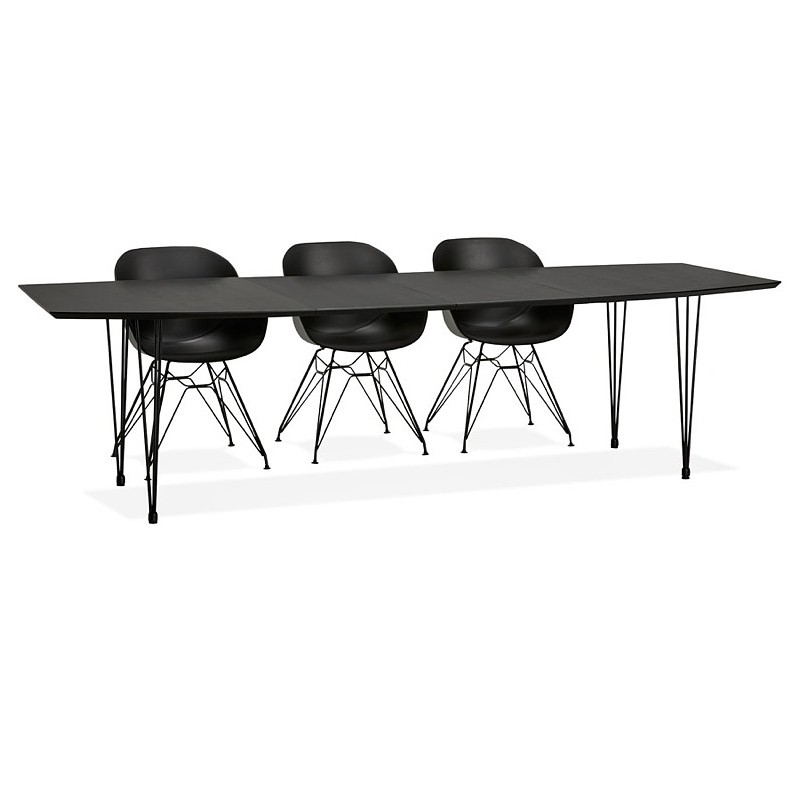 Dining table design with extensions LOANA in wood and metal (100 x 170-270 x 73 cm) (black) - image 39645