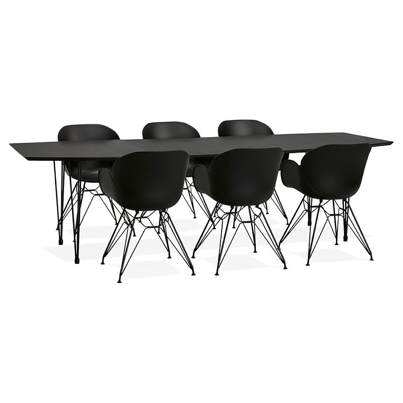 Dining table design with extensions LOANA in wood and metal (100 x 170-270 x 73 cm) (black) - image 39646
