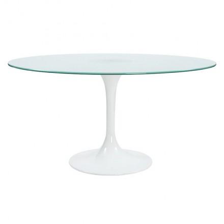 Table à manger ronde design CASSANDRE en verre (Ø 140 cm) (blanc)