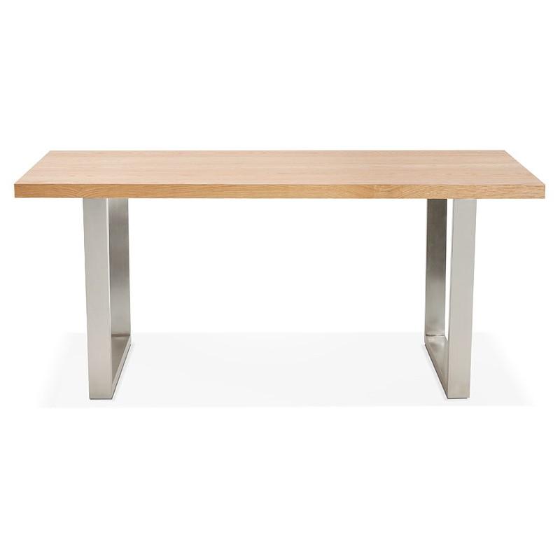 Table à manger design ou table de réunion AXELLE en bois et métal (180x90x77 cm) (naturel) - image 39655