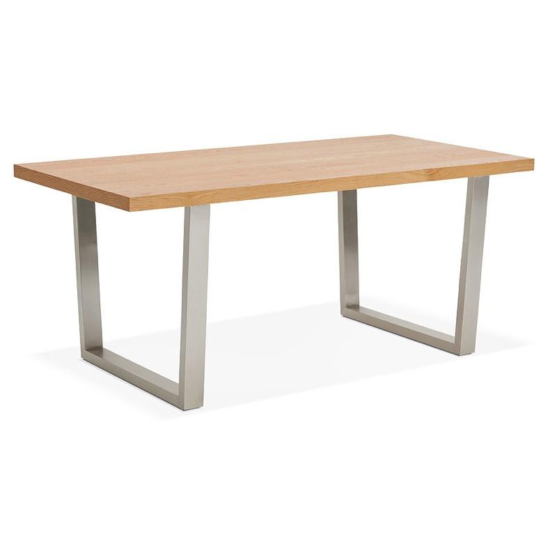 Table à manger design ou table de réunion AXELLE en bois et métal (180x90x77 cm) (naturel) - image 39657
