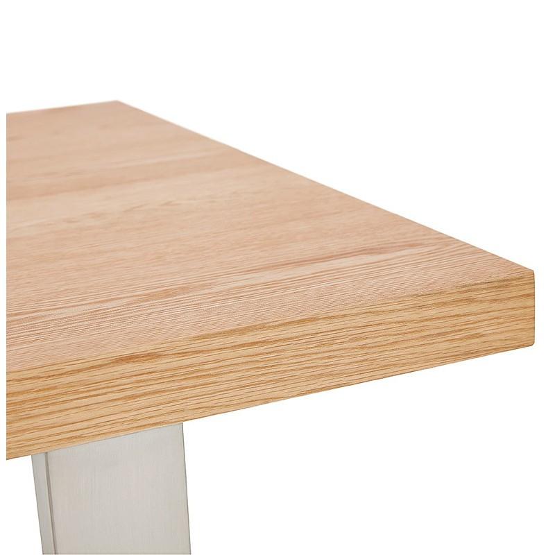 Table à manger design ou table de réunion AXELLE en bois et métal (180x90x77 cm) (naturel) - image 39659