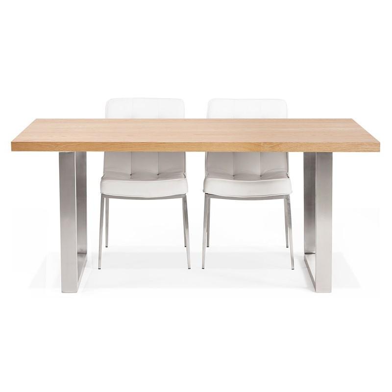 Table à manger design ou table de réunion AXELLE en bois et métal (180x90x77 cm) (naturel) - image 39665