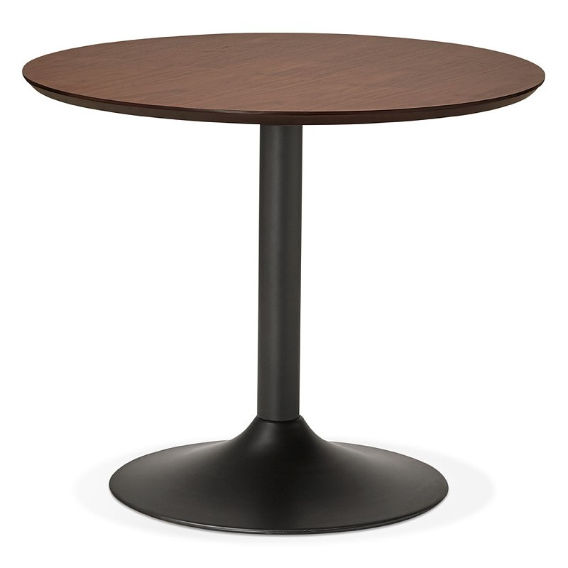Tavolo rotondo da pranzo vintage scandinavo o ufficio MAUD in MDF e metallo verniciato (Ø 90 cm) (noce nero) - image 39689