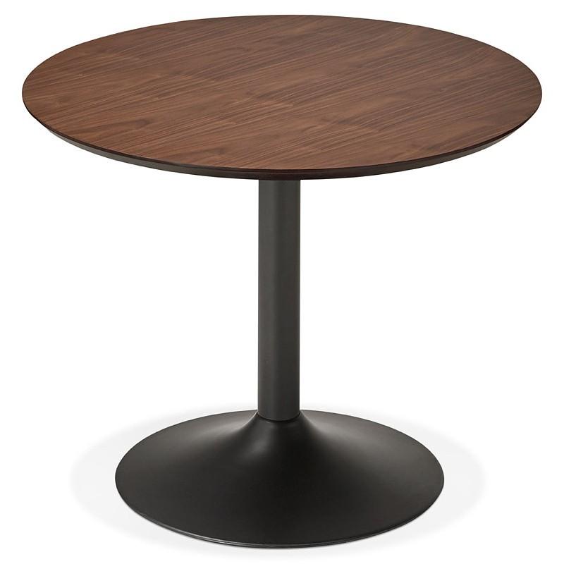 Tavolo rotondo da pranzo vintage scandinavo o ufficio MAUD in MDF e metallo verniciato (Ø 90 cm) (noce nero) - image 39690
