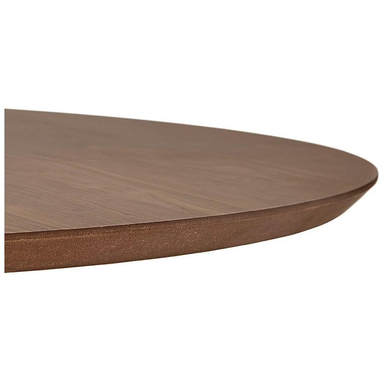 Tavolo rotondo da pranzo vintage scandinavo o ufficio MAUD in MDF e metallo verniciato (Ø 90 cm) (noce nero) - image 39693