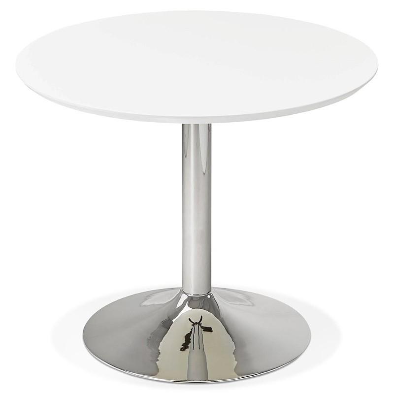 Runder Esstisch Design oder Büro MAUD in MDF und verchromtem Metall (Ø 90 cm) (weiß, Chrom) - image 39709
