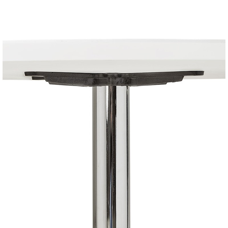 Round dining table design or Office MAUD in MDF and chromed metal (Ø 90 cm) (white, chrome) - image 39713