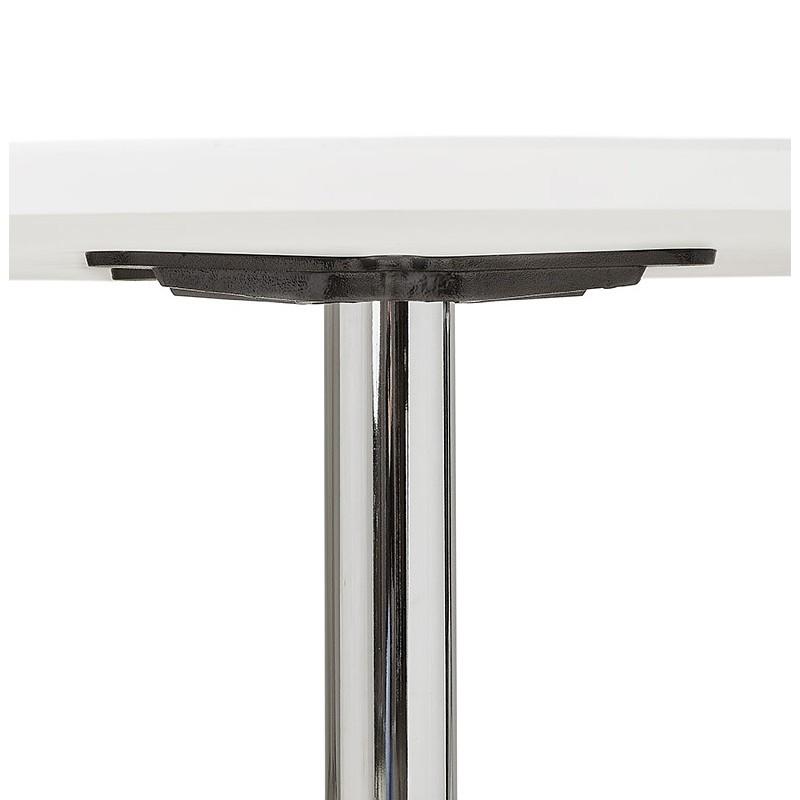 Runder Esstisch Design oder Büro MAUD in MDF und verchromtem Metall (Ø 90 cm) (weiß, Chrom) - image 39713