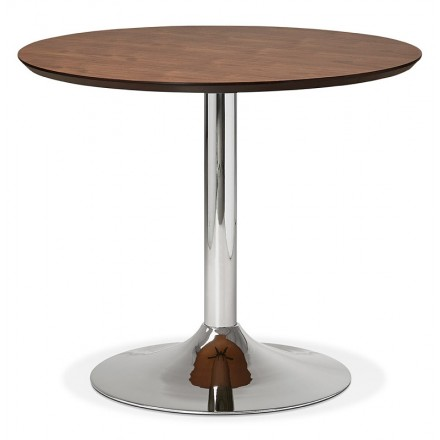 Round Dining Table Design Or Office MAUD In MDF And Chromed Metal (Ø 90 Cm)  (Walnut, Chrome)   Dining Table