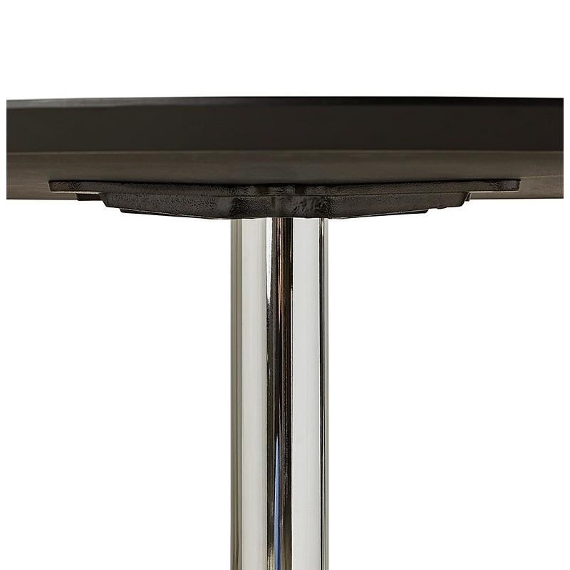 Table à manger ronde design ou bureau MAUD en MDF et métal chromé (Ø 90 cm) (noir, chrome) - image 39731