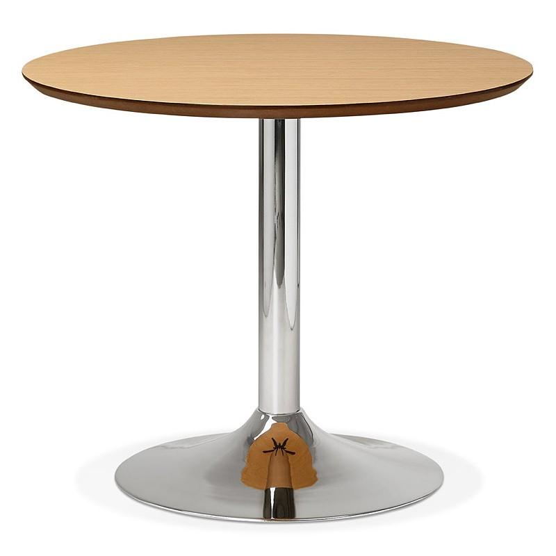 Table à manger ronde design ou bureau MAUD en MDF et métal chromé (Ø 90 cm) (chêne naturel, chrome) - image 39735