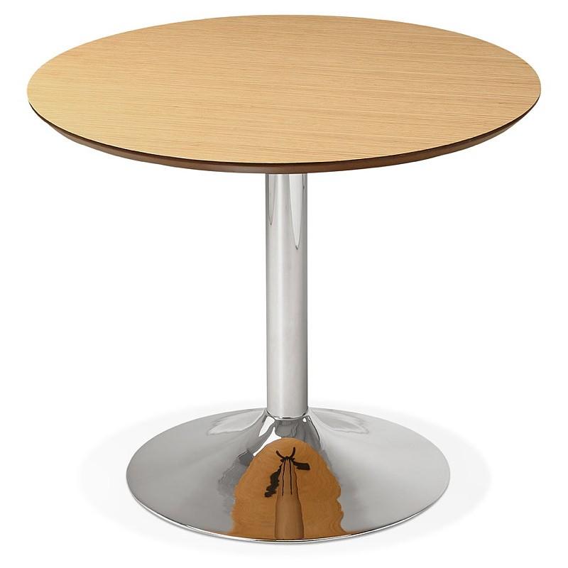 Table à manger ronde design ou bureau MAUD en MDF et métal chromé (Ø 90 cm) (chêne naturel, chrome) - image 39736