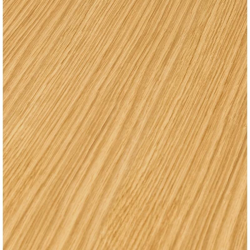 Table à manger ronde design ou bureau MAUD en MDF et métal chromé (Ø 90 cm) (chêne naturel, chrome) - image 39737