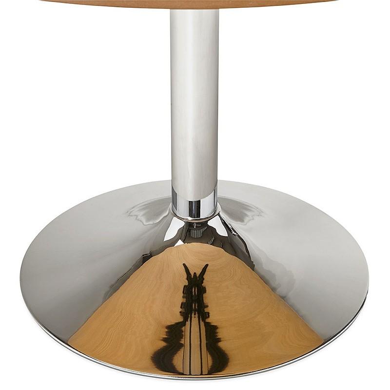 Table à manger ronde design ou bureau MAUD en MDF et métal chromé (Ø 90 cm) (chêne naturel, chrome) - image 39741