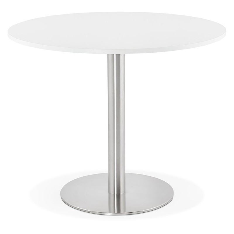 Round dining table design or Office CARLA wooden chipboard and metal brushed (O 90 cm) (white, brushed steel) - image 39745
