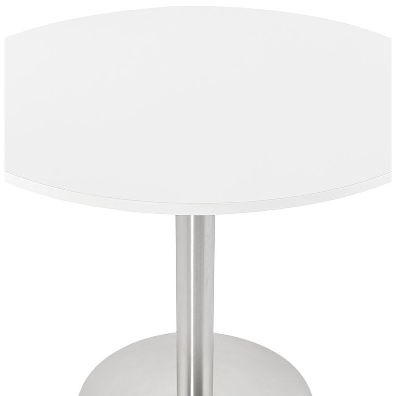 Round dining table design or Office CARLA wooden chipboard and metal brushed (O 90 cm) (white, brushed steel) - image 39747