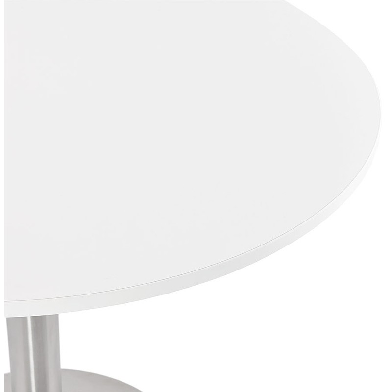 Round dining table design or Office CARLA wooden chipboard and metal brushed (O 90 cm) (white, brushed steel) - image 39748