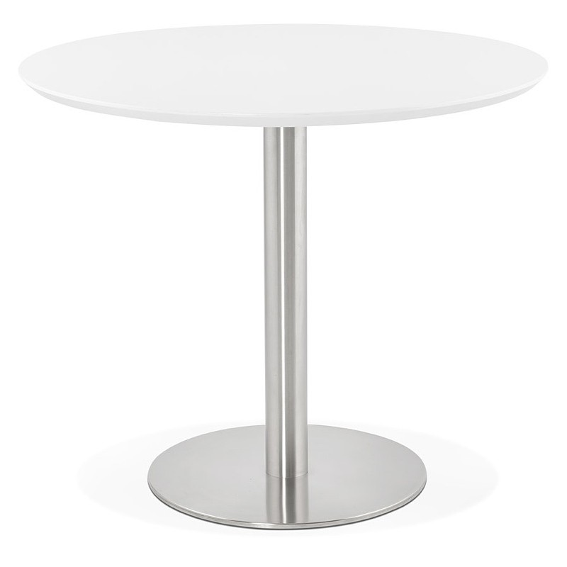 Round dining table design or Office COLINE in MDF and metal brushed (O 90 cm) (white, brushed steel) - image 39763