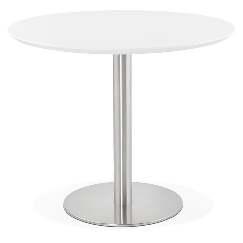 Runder Esstisch Design oder Büro COLINE aus MDF und Metall gebürstet (O 90 cm) (weiß, gebürstetem Stahl) - image 39763