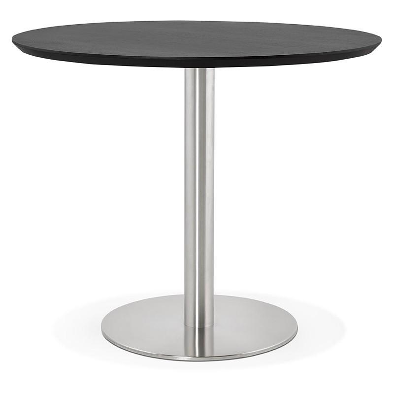 Ronda de diseño mesa de comedor u Oficina COLINE en MDF y cepillado de  metal (Ø 90 cm) (acero negro, pulido) - Mesa de comedor