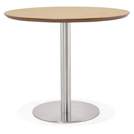 Table round dining design or Office COLINE in MDF and brushed metal (Ø 90 cm) (natural, brushed steel)