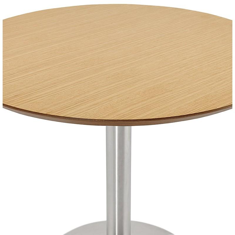 Table à manger ronde design ou bureau COLINE en MDF et métal brossé (Ø 90 cm) (naturel, acier brossé) - image 39789