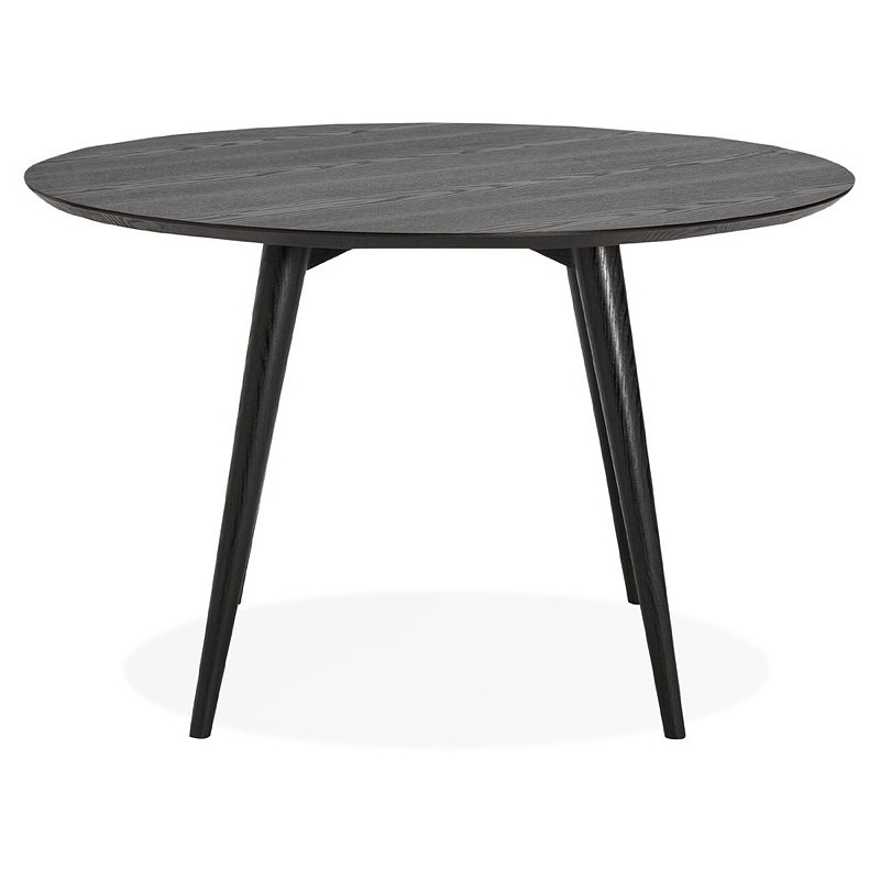 Table à manger ronde design SOFIA (Ø 120 cm) (finition frêne noir)