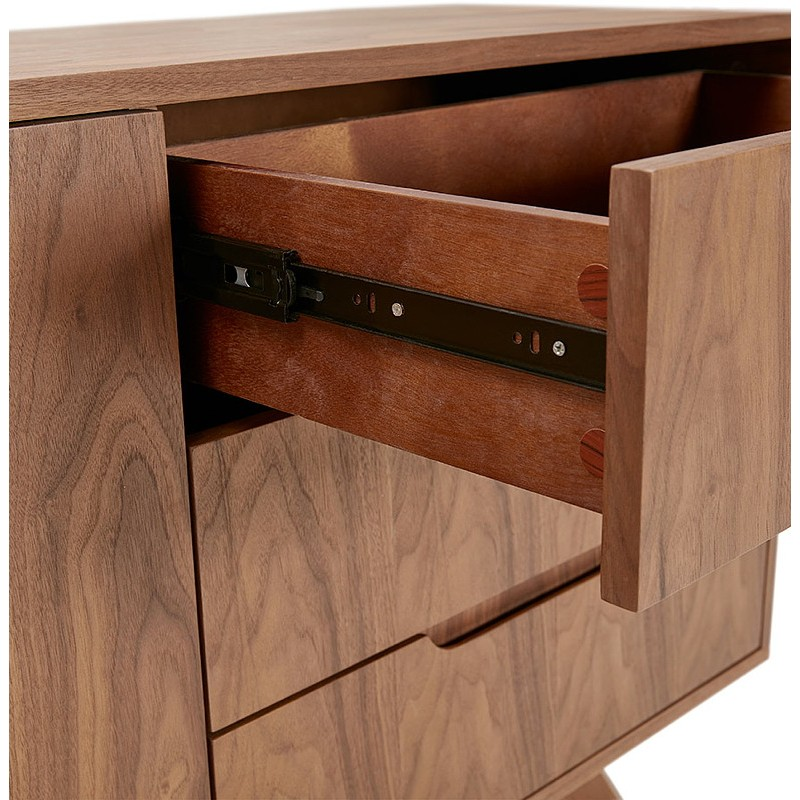 Buffet enfilade design et rétro 2 portes 3 tiroirs MELINA en bois (noyer) - image 40004