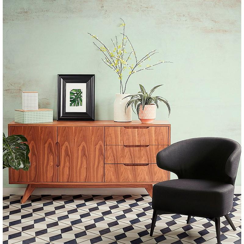 Buffet enfilade design et rétro 2 portes 3 tiroirs MELINA en bois (noyer) - image 40011