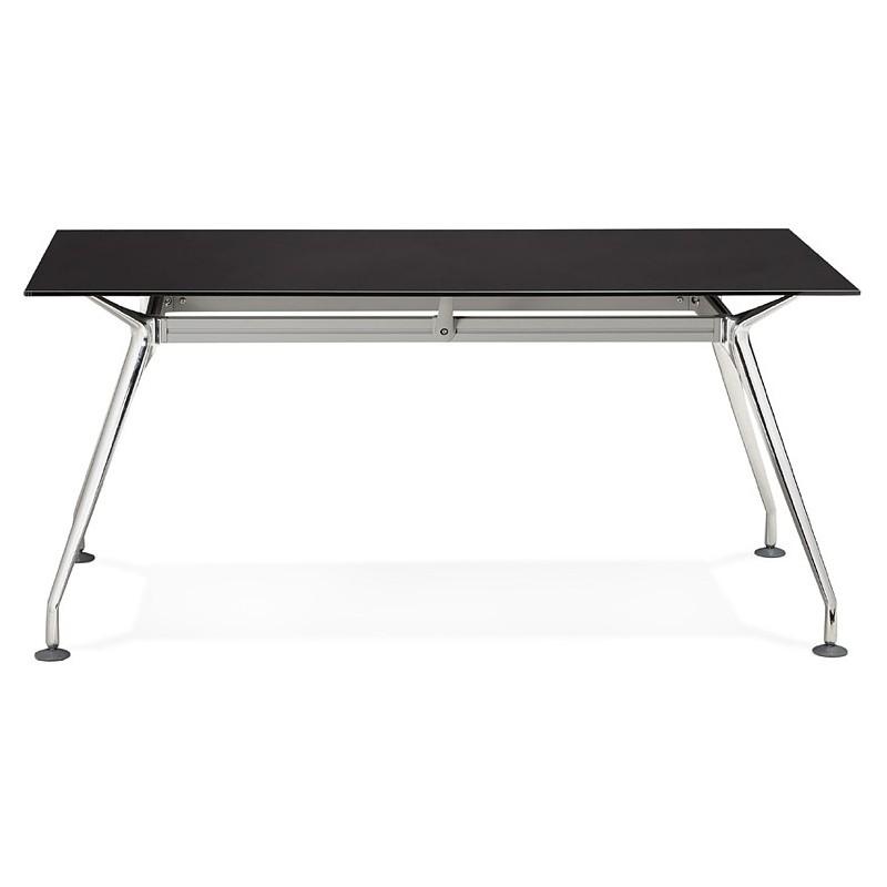 Bureau table de réunion moderne (80x160 cm) AMELIE en verre (noir) - image 40028
