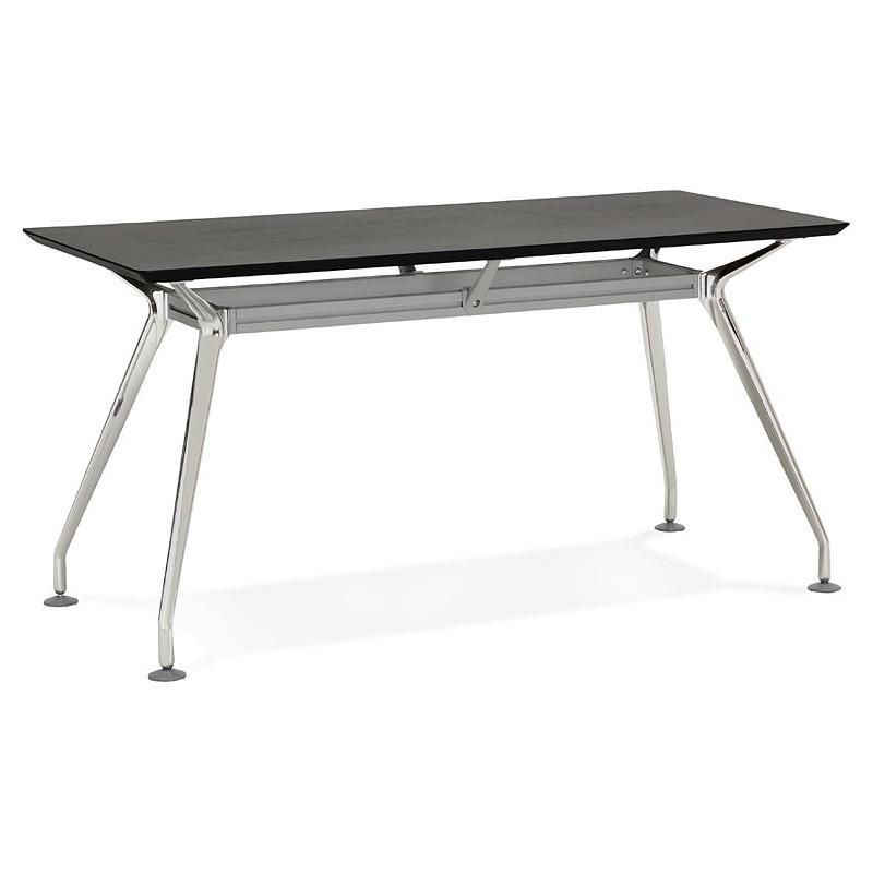 Bureau table de réunion moderne (70x150 cm) NOEMIE en bois plaqué frêne (noir) - image 40067