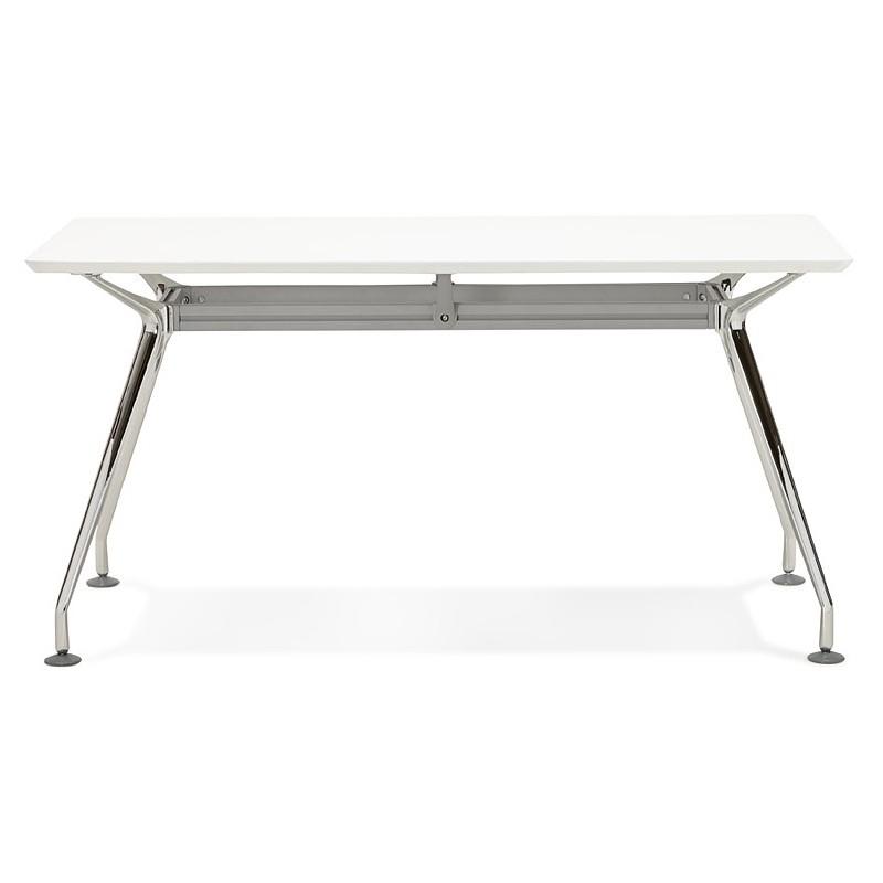 Bureau table de réunion moderne (70x150 cm) NOEMIE en bois (blanc mat) - image 40099