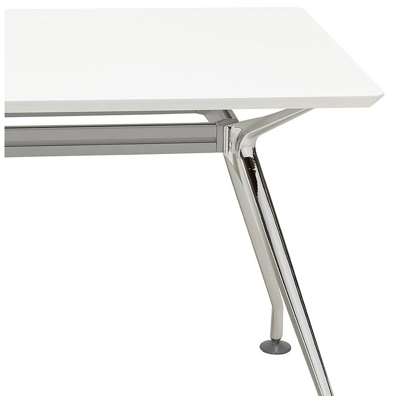 Bureau table de réunion moderne (70x150 cm) NOEMIE en bois (blanc mat) - image 40102