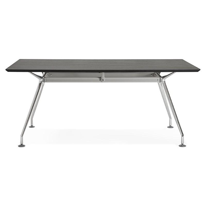 Bureau table de réunion moderne (90x180 cm) LAMA en bois plaqué frêne (noir) - image 40113