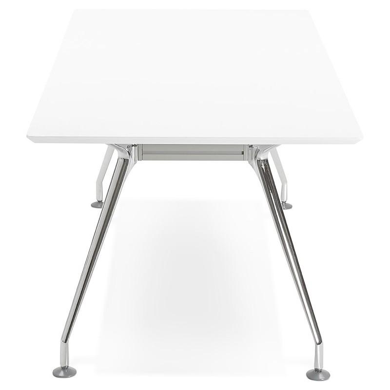 Bureau table de réunion moderne (90x180 cm) LAMA en bois (blanc mat) - image 40140
