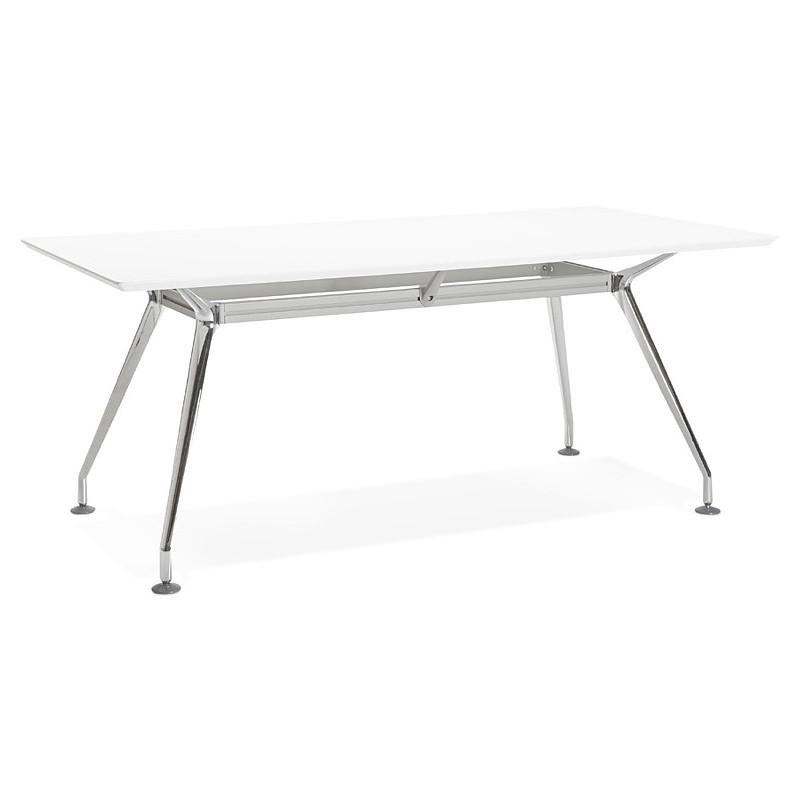 Bureau table de réunion moderne (90x180 cm) LAMA en bois (blanc mat) - image 40142