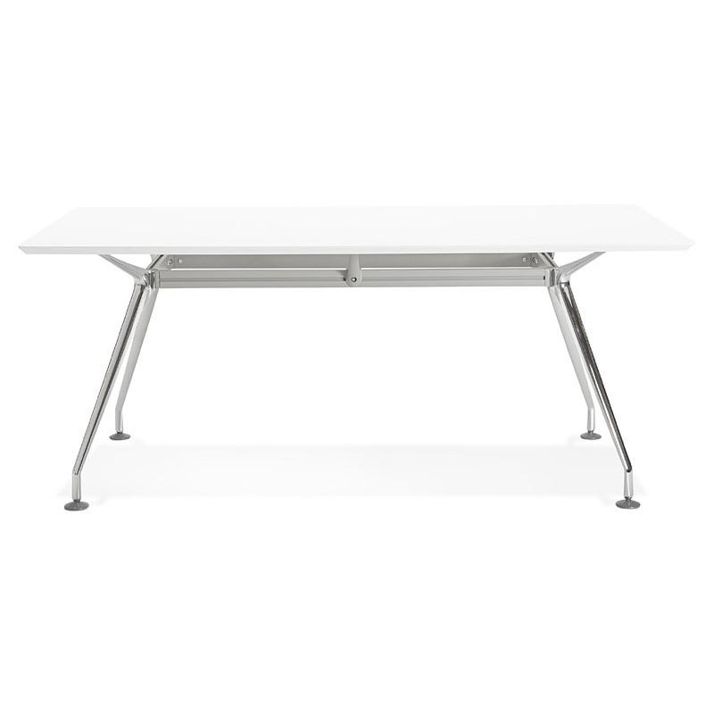 Bureau table de réunion moderne (90x180 cm) LAMA en bois (blanc mat) - image 40143