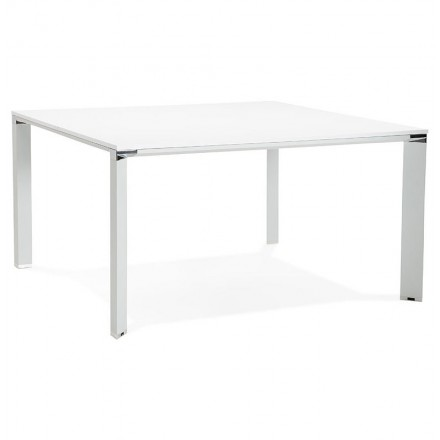 Desk table modern meeting (140 x 140 cm) RICARDO wooden (white)