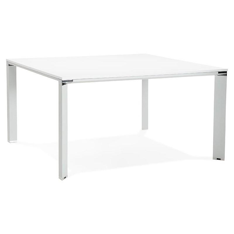 Bureau table de réunion moderne (140x140 cm) RICARDO en bois (blanc) - image 40190