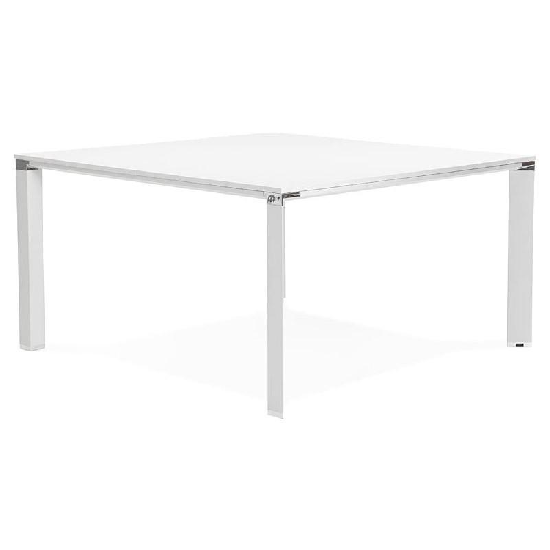 Bureau table de réunion moderne (140x140 cm) RICARDO en bois (blanc) - image 40192