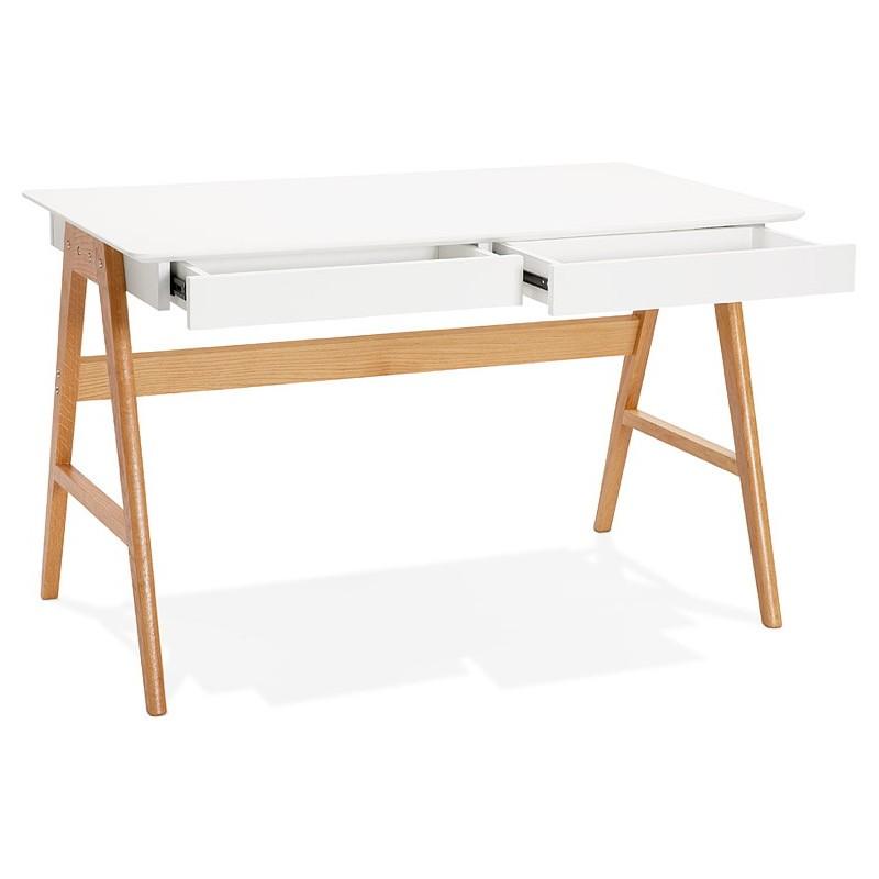 Bureau droit scandinave ELOISE en bois (blanc mat) - image 40217