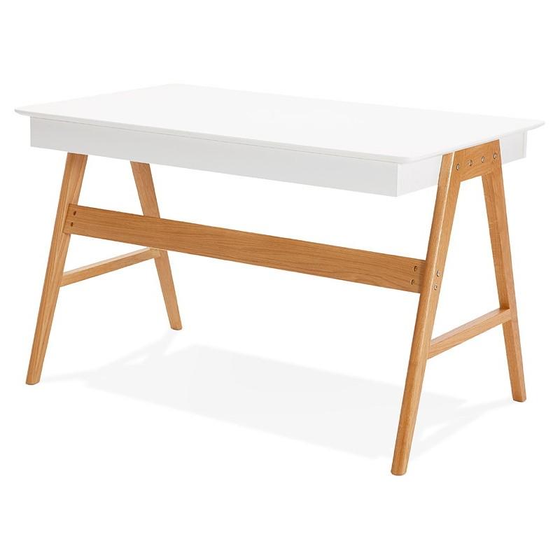 Bureau droit scandinave ELOISE en bois (blanc mat) - image 40220