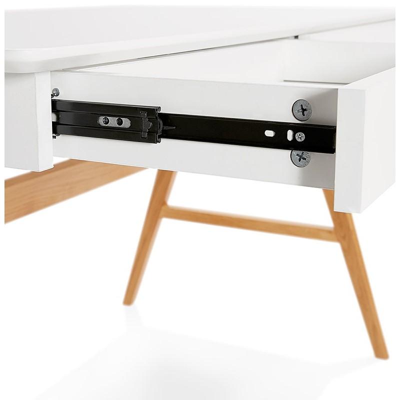 Bureau droit scandinave ELOISE en bois (blanc mat) - image 40222